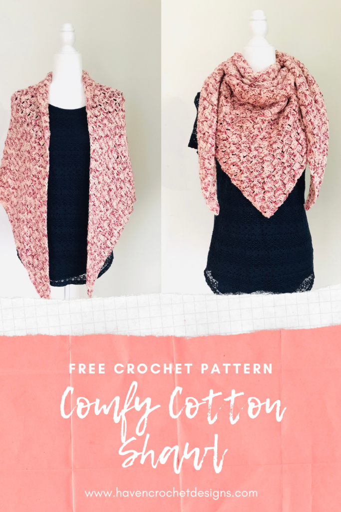 Pinterest Pin Imagine for the Comfy Cotton Shawl Free Crochet Pattern by Haven Crochet Designs