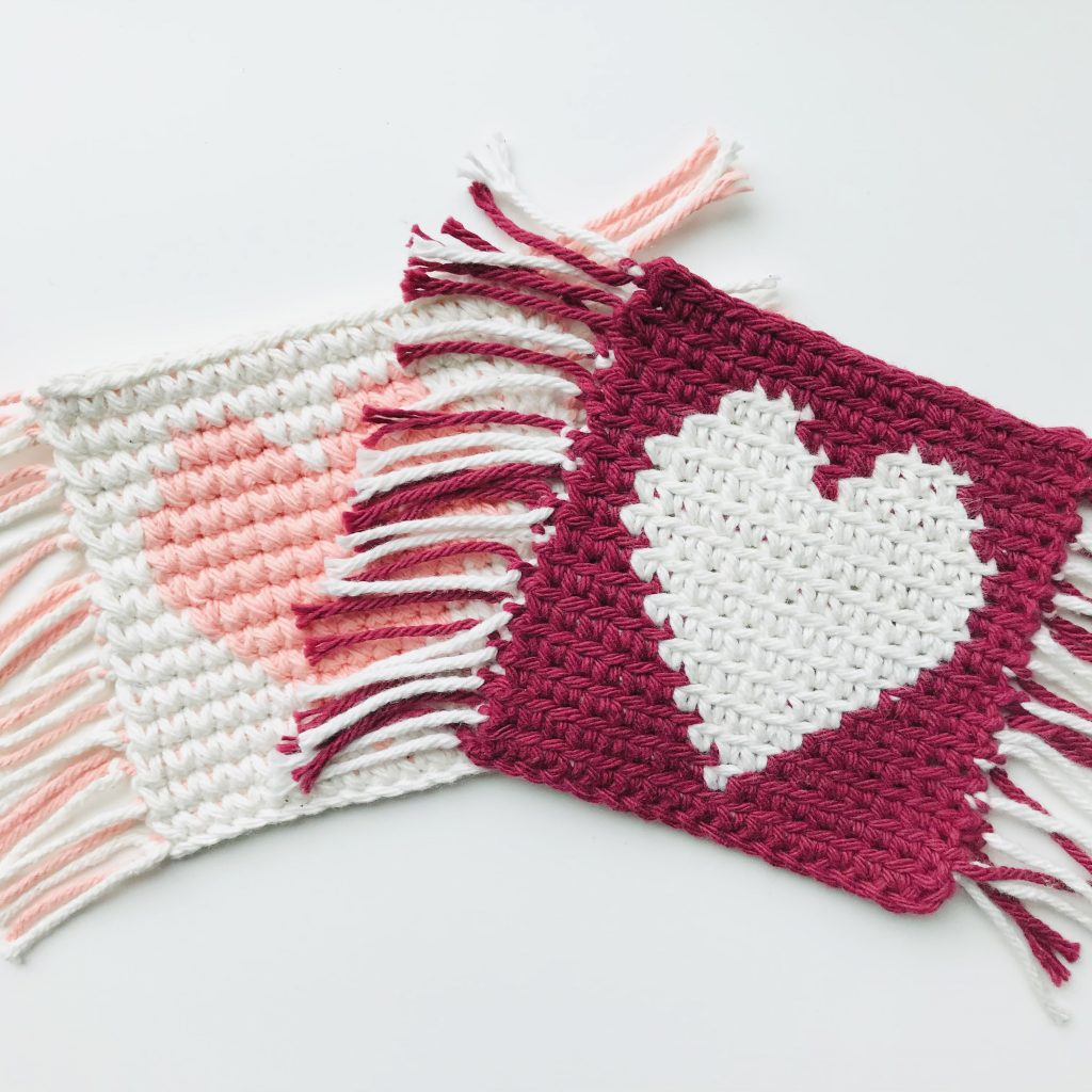 Valentine's Mug Rug - How to do flat tapestry crochet