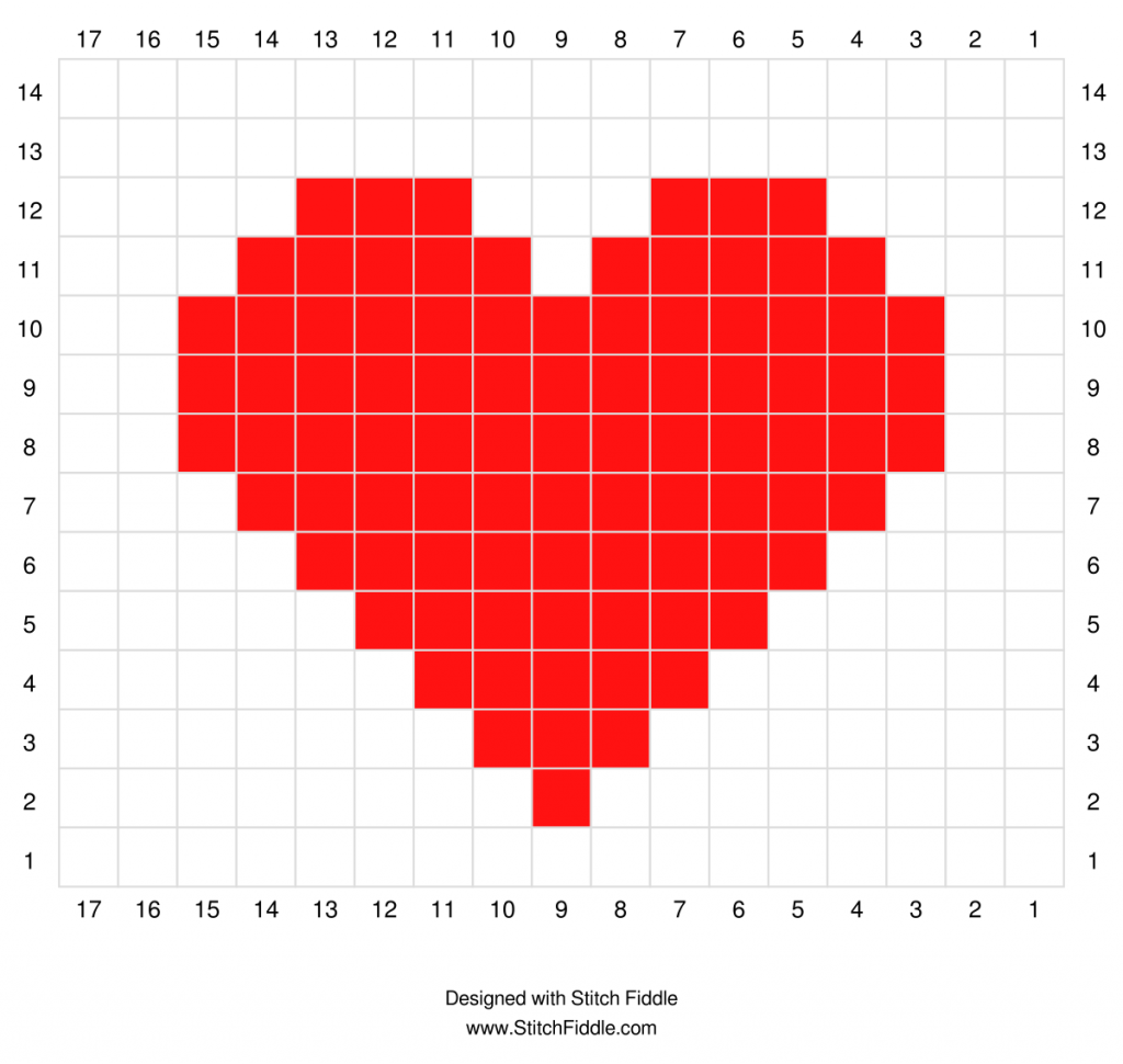 Valentine's Mug Rug Graph by Haven Crochet Designs for One-Directional Flat Tapestry Crochet
